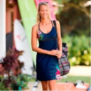 Athleta Shorebreak Navy Floral Swim Dress